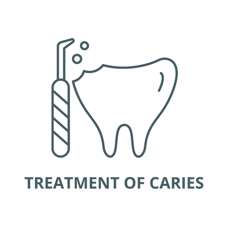 Treatment of caries vector line icon, outline concept, linear sign