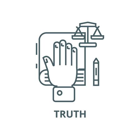 Concept de vérité,main sur l'icône de la ligne du vecteur, concept de contour, signe linéaire