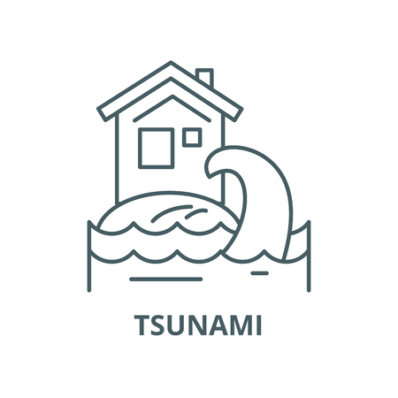 Tsunami vector line icon, outline concept, linear sign Illustration