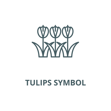 Tulips symbol vector line icon, outline concept, linear sign