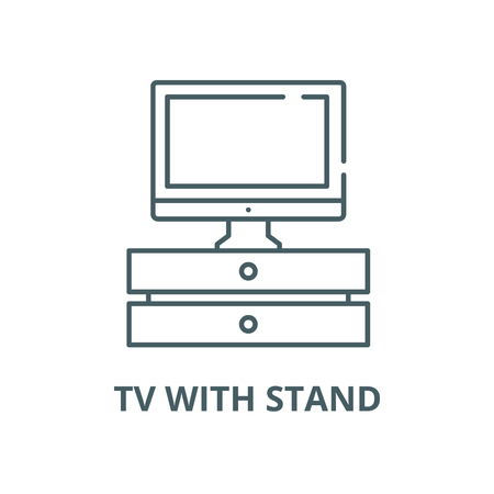 Tv with stand vector line icon, outline concept, linear sign