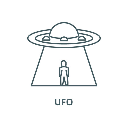 Ufo vector line icon, outline concept, linear sign Illustration