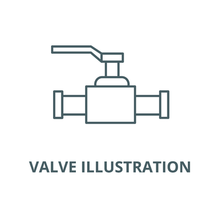 Valve illustration vector line icon, outline concept, linear sign