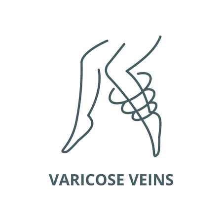 Varicose veins vector line icon, outline concept, linear sign