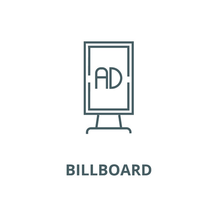Vertical billboard advertising vector line icon, outline concept, linear sign