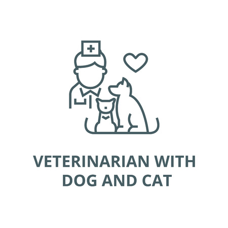 Veterinarian with dog and cat vector line icon, outline concept, linear sign