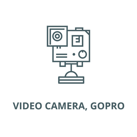 Video camera,  vector line icon, outline concept, linear sign Çizim
