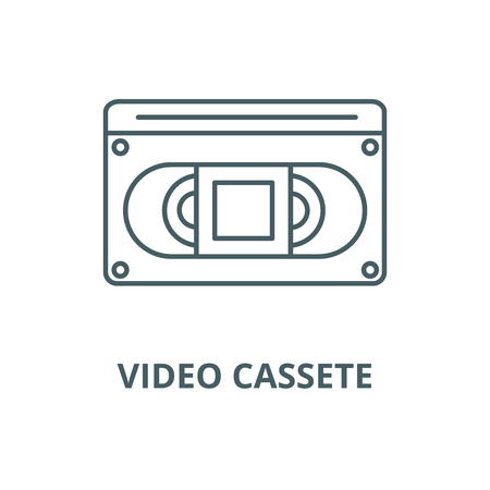 Video cassete vector line icon, outline concept, linear sign