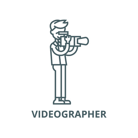 Videographer vector line icon, outline concept, linear sign