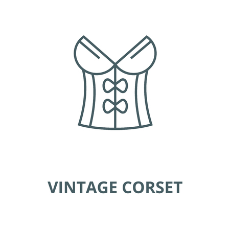 Vintage corset vector line icon, outline concept, linear sign Illustration