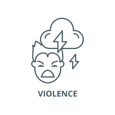 Violence vector line icon, outline concept, linear sign