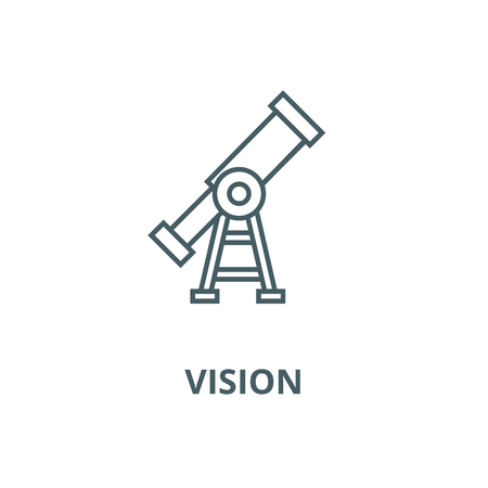 Vision,telescope vector line icon, outline concept, linear sign