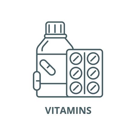 Vitamins vector line icon, outline concept, linear sign Banco de Imagens - 122415375