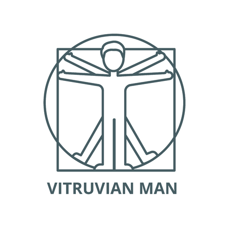 Vitruvian man  vector line icon, outline concept, linear sign