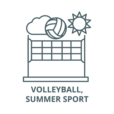 Volleyball,summer sport vector line icon, outline concept, linear sign Stock Illustratie