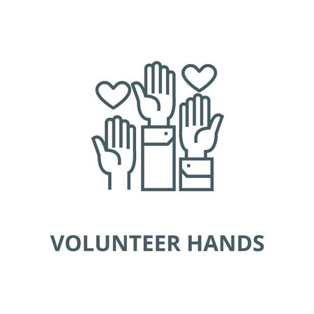 Icona della linea del vettore di mani volontarie, concetto di contorno, segno lineare