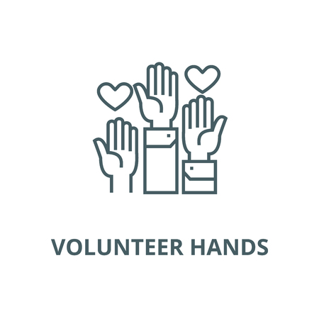 Volunteer hands vector line icon, outline concept, linear sign