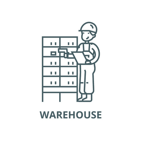 Warehouse,delivery man  vector line icon, outline concept, linear sign Banco de Imagens - 122415380