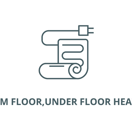 Warm floor,under floor heating vector line icon, outline concept, linear sign Иллюстрация