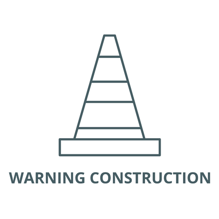 Warning construction vector line icon, outline concept, linear sign Ilustrace