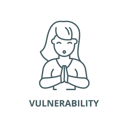 Vulnerability vector line icon, outline concept, linear sign Illustration