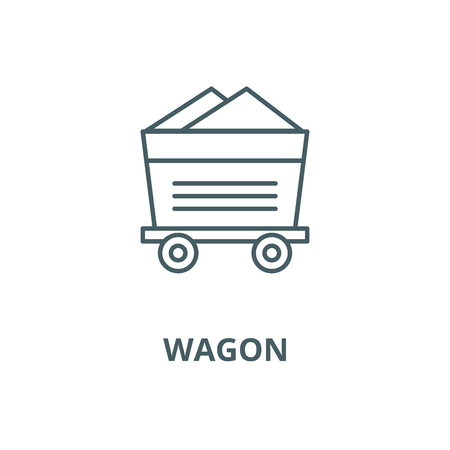 Wagon, industrial equipment vector line icon, outline concept, linear sign Illustration