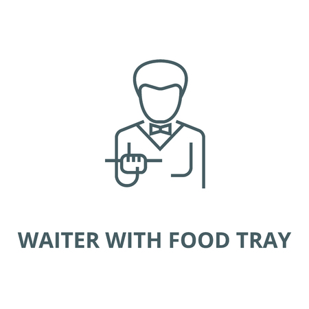 Waiter with food tray vector line icon, outline concept, linear sign