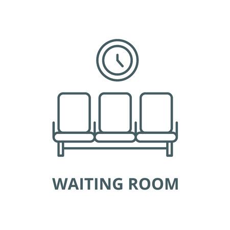 L'icône de la ligne du vecteur de salle d'attente, concept de contour, signe linéaire