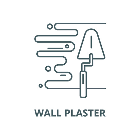 Wall plaster vector line icon, outline concept, linear sign