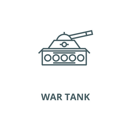 War tank vector line icon, outline concept, linear sign