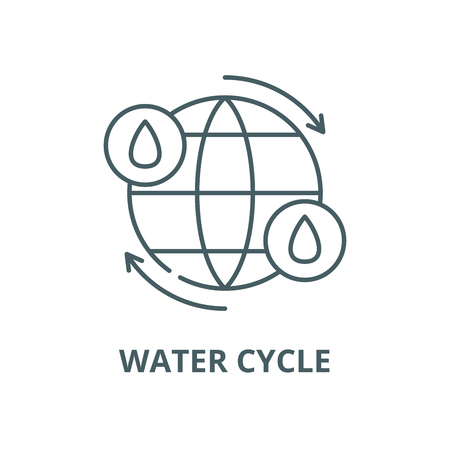 Water cycle vector line icon, outline concept, linear sign Çizim