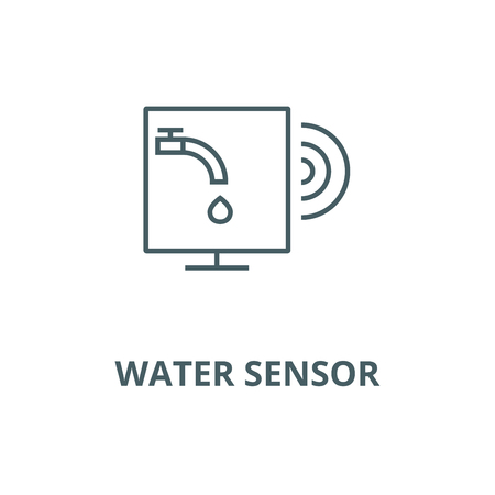 Water sensor vector line icon, outline concept, linear sign