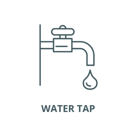 Water tap vector line icon, outline concept, linear sign