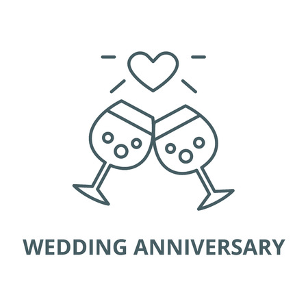 Wedding anniversary vector line icon, outline concept, linear sign