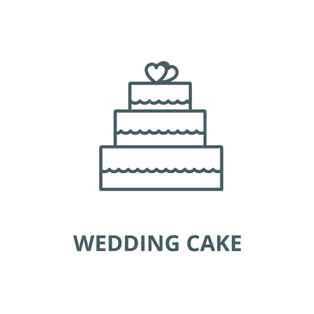 Wedding cake  vector line icon, outline concept, linear sign