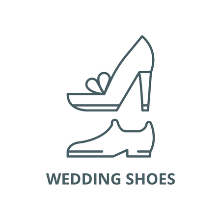 Wedding shoes vector line icon, outline concept, linear sign Illustration