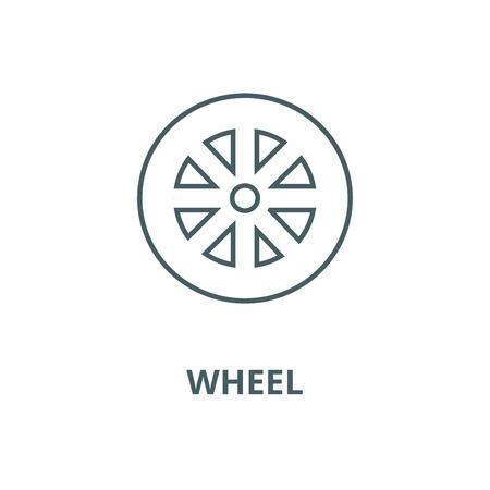 Wheel vector line icon, outline concept, linear sign