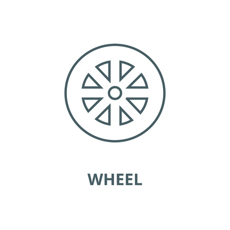 Wheel vector line icon, outline concept, linear sign