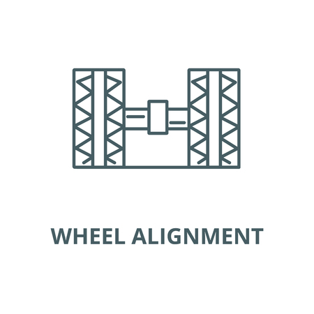 Wheel alignment,garage vector line icon, outline concept, linear sign