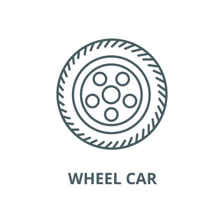 Wheel car vector line icon, outline concept, linear sign Illustration