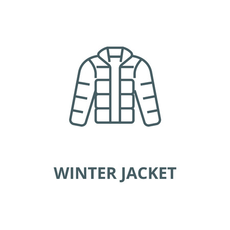 Winter jacket,downjacket,outdoor clothes vector line icon, outline concept, linear sign