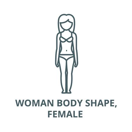 Woman body shape,female  vector line icon, outline concept, linear sign Banque d'images - 122415543