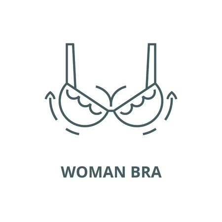 Woman bra,breast augmentation,surgery vector line icon, outline concept, linear sign