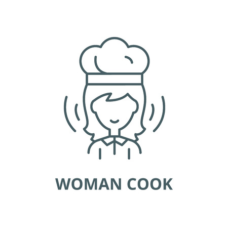 Woman cook vector line icon, outline concept, linear sign Vettoriali