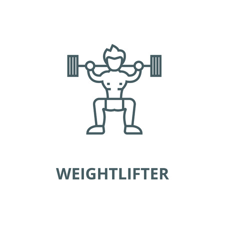 Weightlifter  vector line icon, outline concept, linear sign
