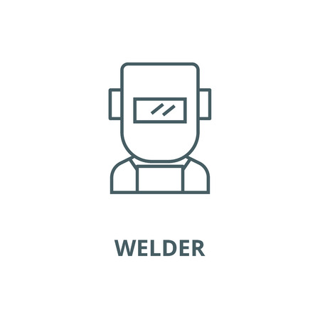 Welder vector line icon, outline concept, linear sign Vettoriali