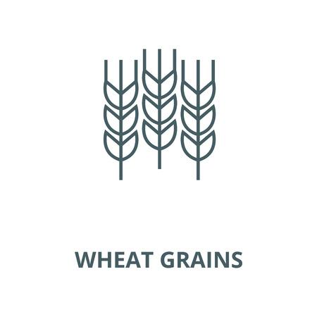 Wheat grains vector line icon, outline concept, linear sign Vettoriali