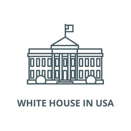 Casa Bianca in usa linea del vettore icona, concetto di contorno, segno lineare