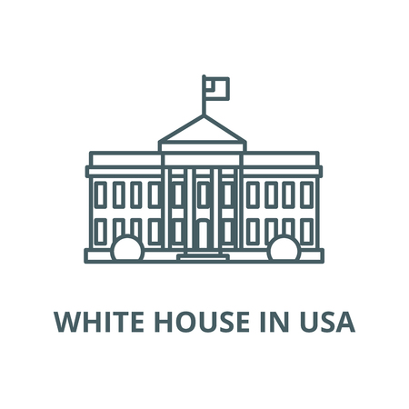White house in usa vector line icon, outline concept, linear sign
