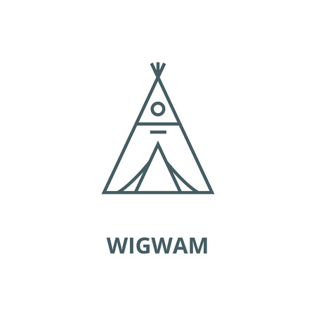 Wigwam vector line icon, outline concept, linear sign